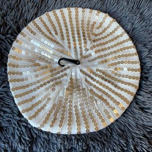 Calvin Klein white and gold sequins knitted hat